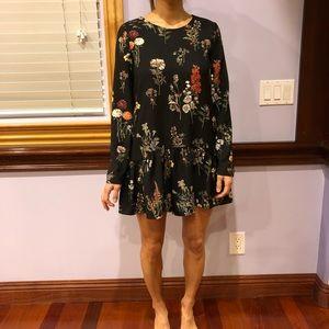 Zara floral drop waist romper with tie l